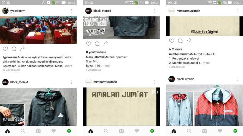 Dari Kiri Ke Kanan - Terlihat perubahan waktu posting tidak lagi dari waktu terakhir, tetapi sudah ditentukan sendiri oleh Instagram