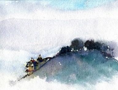 Paysage avec temple