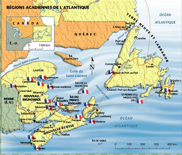 Régions acadiennes de l'Atlantique