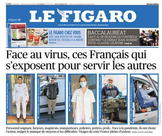 Le Figaro du 4 avril titre sur la France au travail pendant la crise du Coronavirus