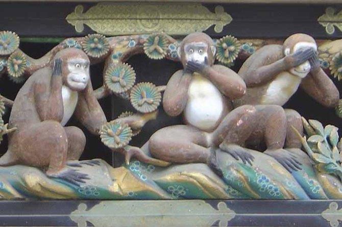 """Le tre proverbiali """"scimmie sagge"""": Non vedo, non sento, non parlo - 2003 David Monniaux"""