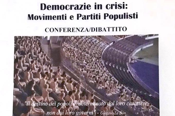 Adrano, lunedì conferenza sulla crisi delle democrazie