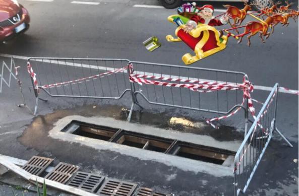 """Santa Maria di Licodia, """"Babbo Natale"""" ripara le caditoie pericolose"""
