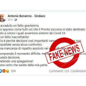 "Biancavilla. ""Pronto soccorso solo covid"", la fake-news del sindaco Antonio Bonanno"