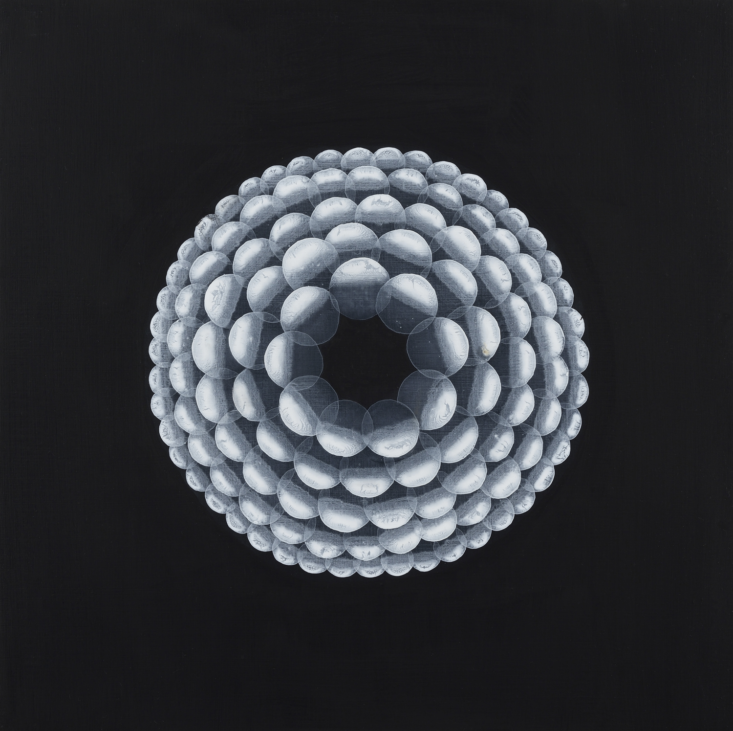 Yvonne Behnke white on black painting cercles form a geometric 3D illusion