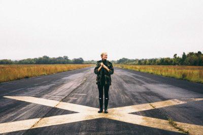 Woman at crossroads