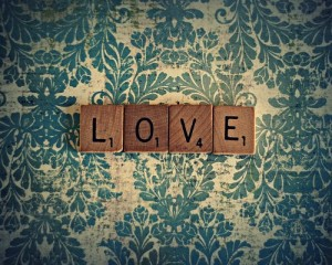 LOVE in scrabble pieces