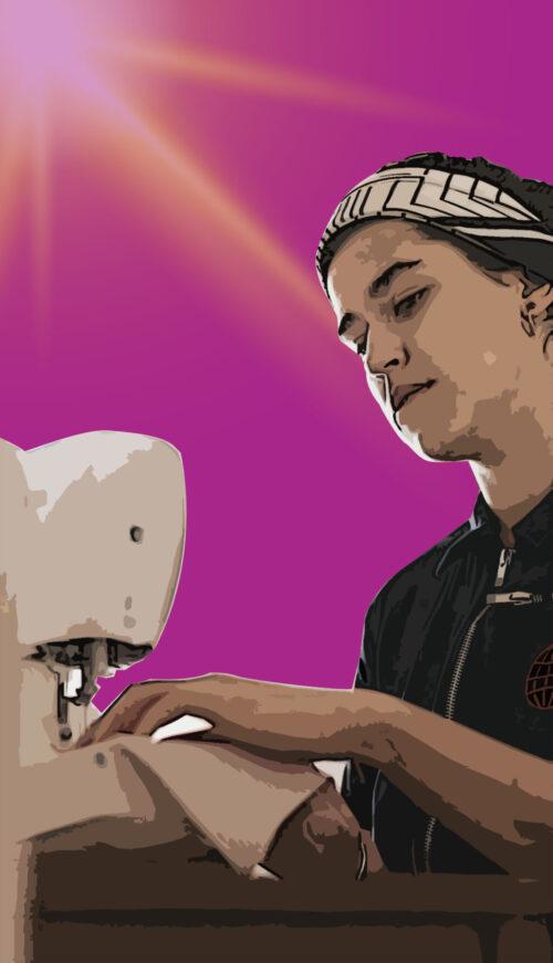 woman sewing a mask