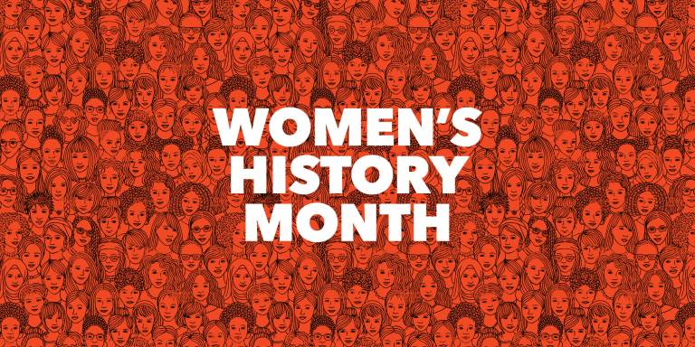"""Women's History Month"" overlaid over persimmon illustration of diverse group of women"