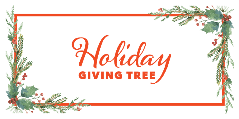 """""""Holiday Giving Tree"""" in a festive script, surrounded by watercolor pine garlands"""