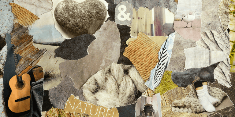 Collage mood board with Scandinavian natural colors and a zen spiritual concept .