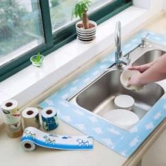 Farm Kitchen Sink Blue Cabinet Knobs 厨房水槽洗菜盆吸水贴洗漱台防水吸湿贴 12x200cm 紫薇网