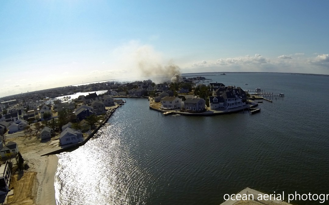 Normandy Beach Fire Aerial Photo