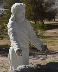 The hands on this statue of Jesus need to be repaired.