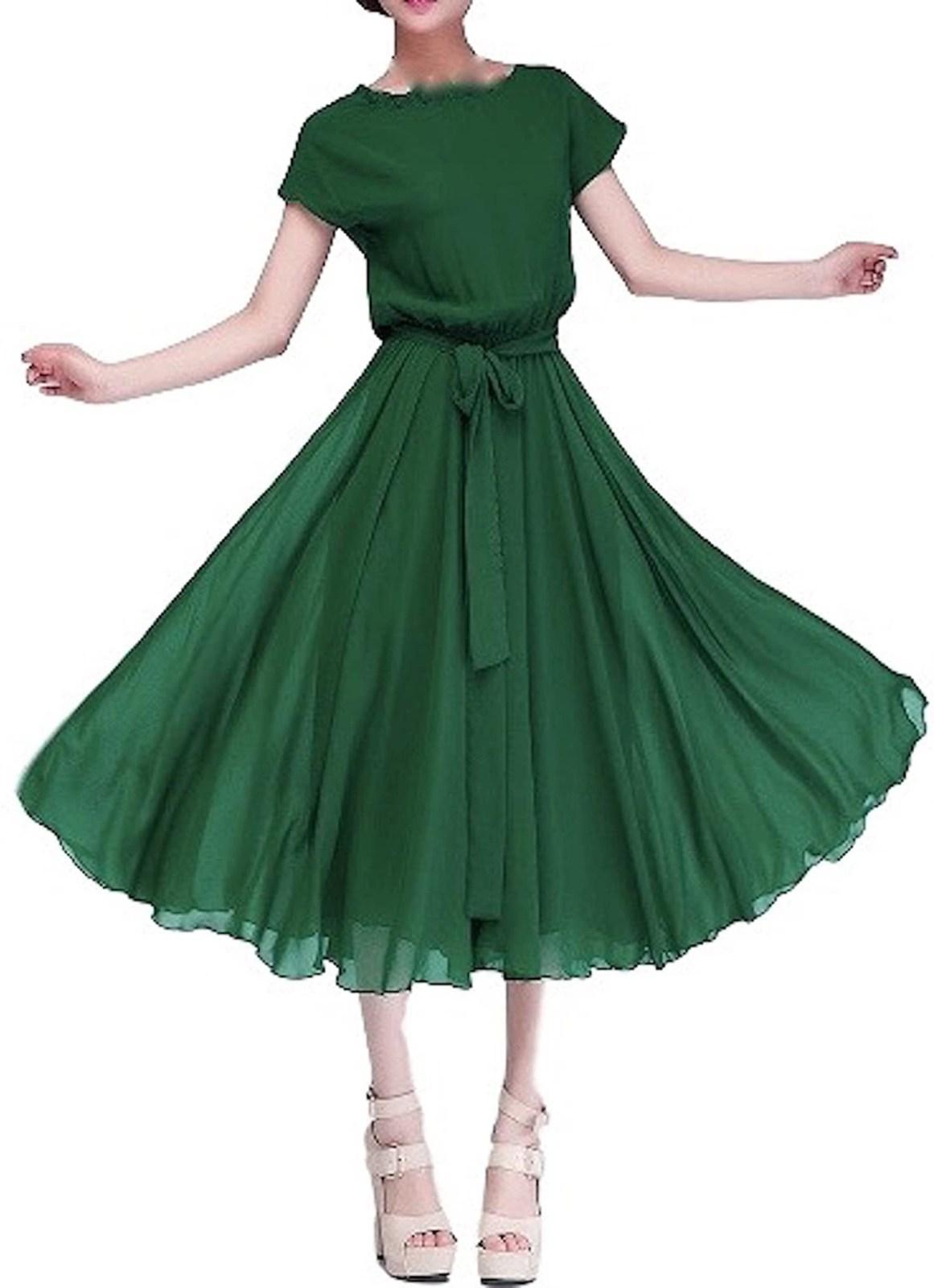 レディース ファッション ワンピース パール・シフォン ロング ドレス・グリーン・M