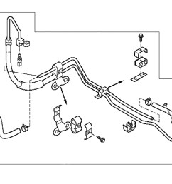 the power steering pressure line hose carries fluid under pressure from the power steering pump to the rack and pinion on your 2003 2008 nissan 350z z33  [ 1200 x 900 Pixel ]