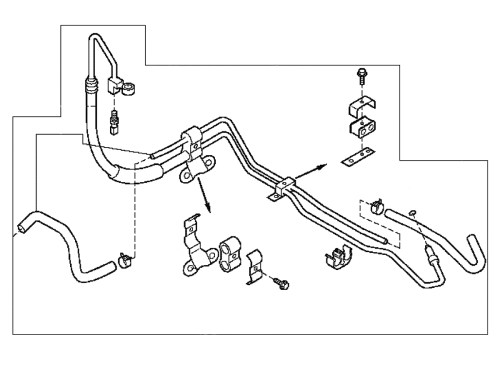small resolution of the power steering pressure line hose carries fluid under pressure from the power steering pump to the rack and pinion on your 2003 2008 nissan 350z z33
