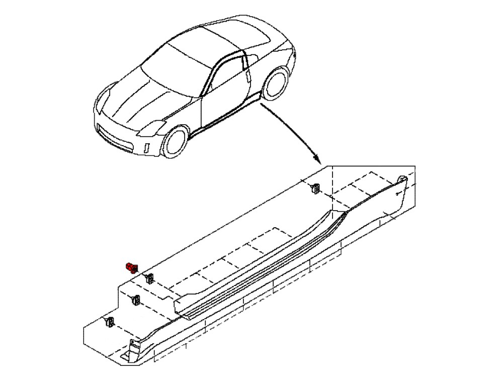 medium resolution of oem side skirt clips for the 350z this clip is snapped into the body on your 2003 2008 nissan 350z and allows the side skirt to clip into it holding it to
