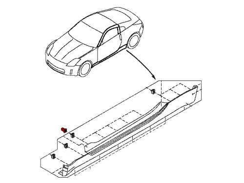 small resolution of oem side skirt clips for the 350z this clip is snapped into the body on your 2003 2008 nissan 350z and allows the side skirt to clip into it holding it to