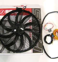 z1 motorsports spal electric fan setups flow over 3300 m3 hr at static pressure an electrically driven fan reduces parasitic losses associated with  [ 2848 x 2136 Pixel ]