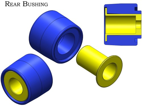 small resolution of the large stock rubber fluid filled bushing in the rear subframe of 350z g35 370z g37 models is prone to failure it is common to see evidence of the