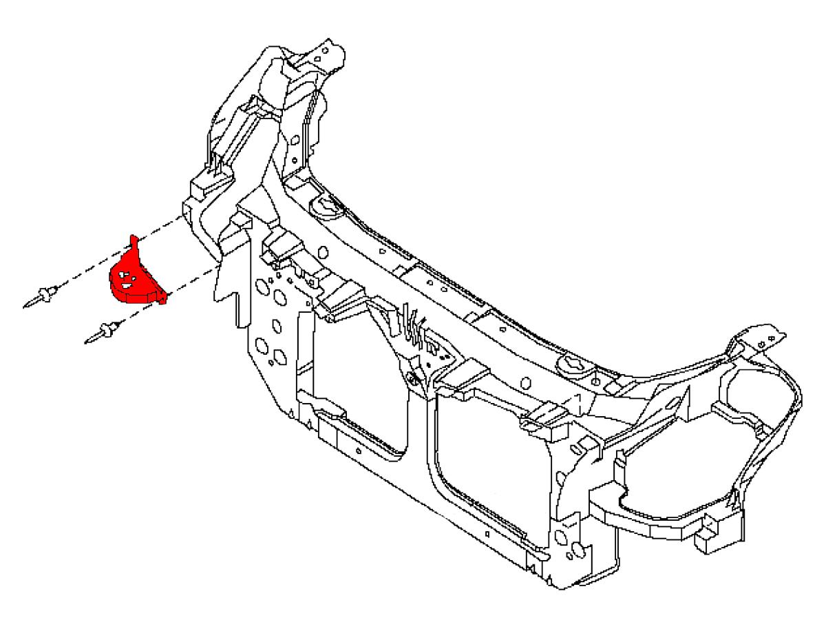 OEM G35 Front Radiator Core Support Side Bracket, Z1
