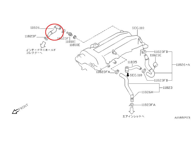 S14 SR20DET PCV Hose Short, Z1 Motorsports