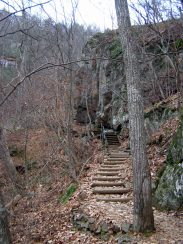The trail is sometimes cut into rocky slopes