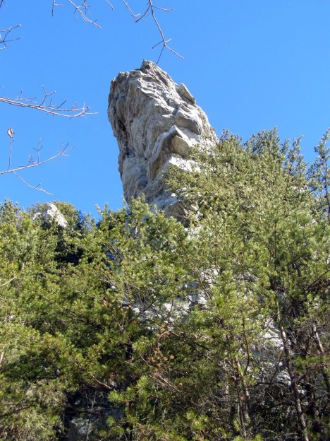 Hanging Rock soars above the trail