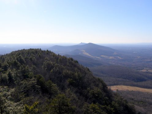West view of Sauratown and Pilot Mountain - from Moore's Knob