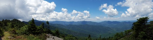 Panorama from the rock bench below Gibbs Mountain