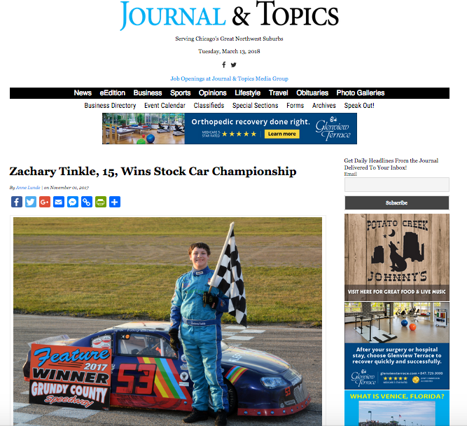 Front Page Feature of Zachary Tinkle in Park Ridge Journal Topics