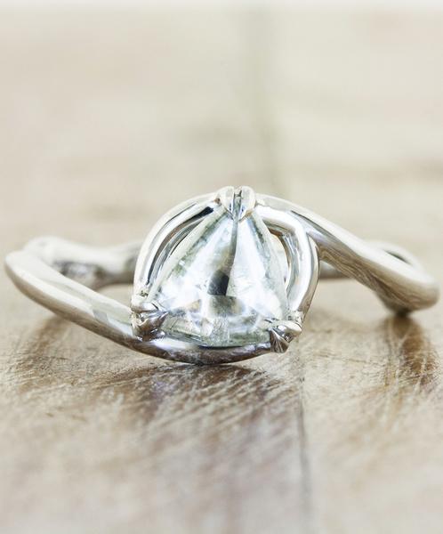 unique engagement ring organic rough trillion diamond platinum eco friendly knolly f   - مجلة ست الحسن