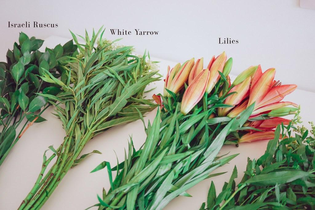 flower's used in flower arrangement tutorial