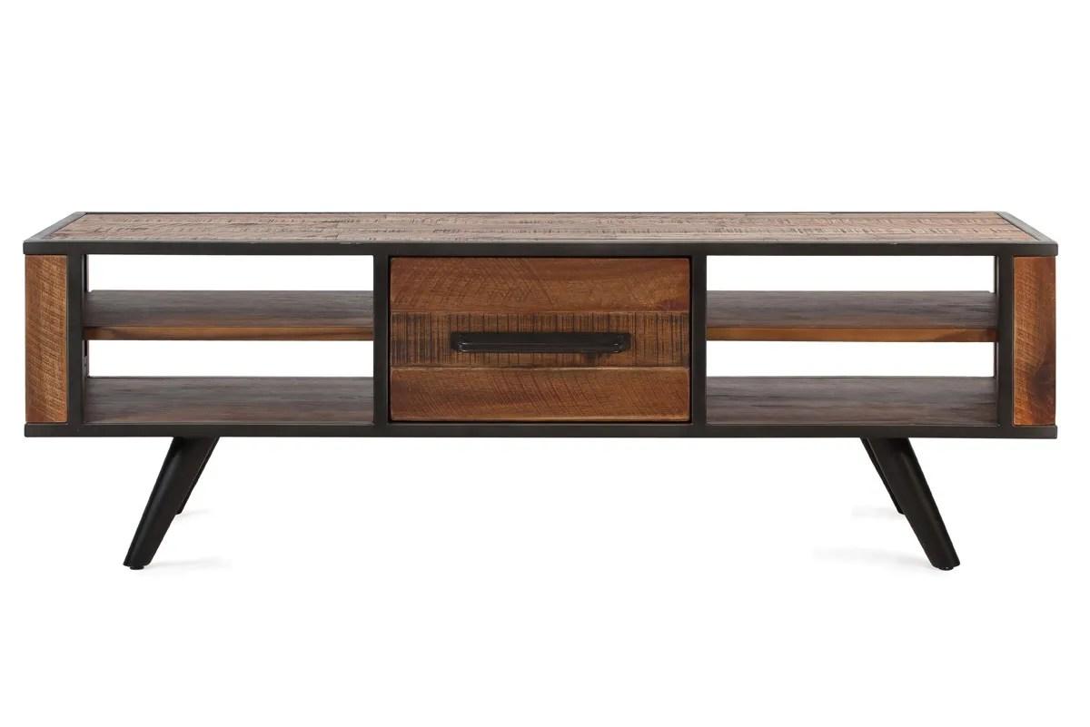 meuble tv metal et bois d acacia de 150 cm cusco