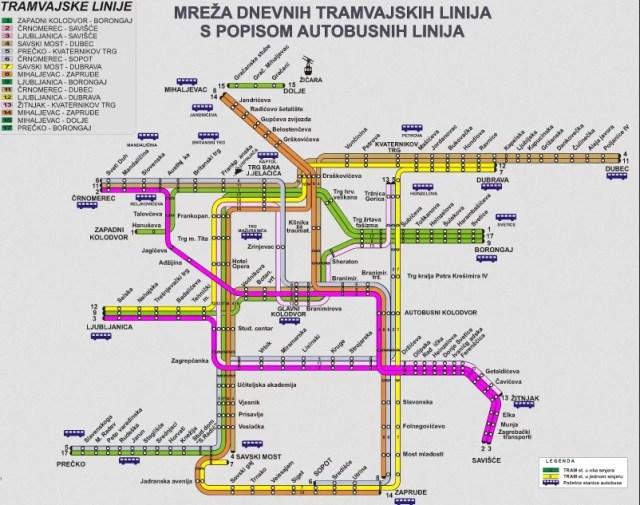 Zagreb Tram map