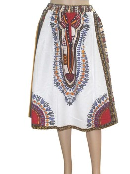 African Dashiki Skirt White