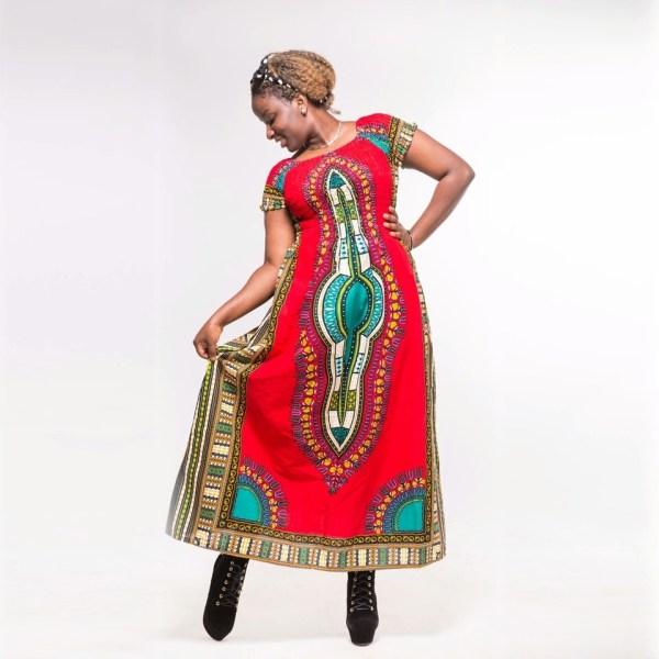 Dashiki Cotton Dress Red