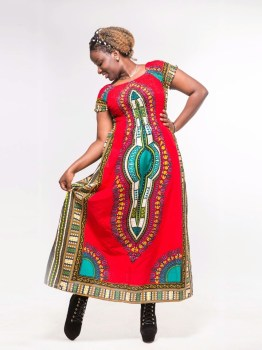 Dashiki Cotton Dress Red
