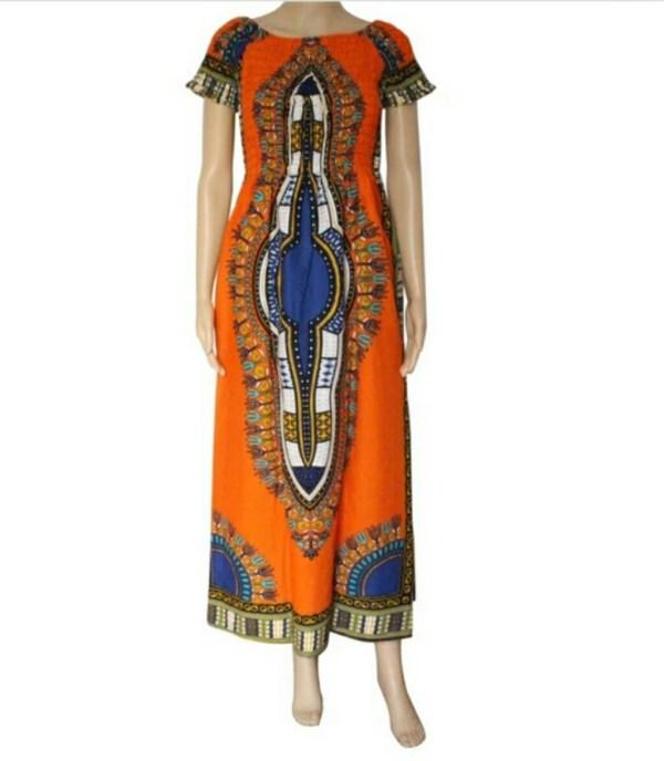 Dashiki Orange Maxi Dress