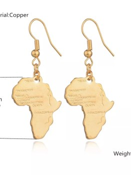 Gold Plated Africa Map Earrings