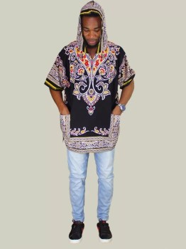 Black Hoodie Dashiki Shirt (Full View)