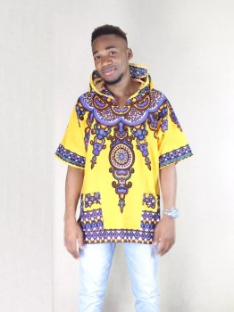 Yellow Hoodie Dashiki Shirt (Front View)