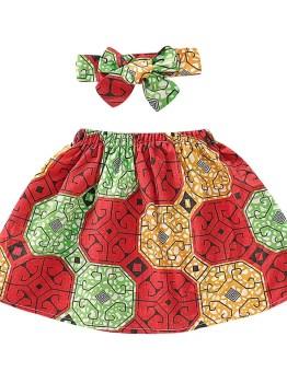 Red Ankara Childrens Skirt