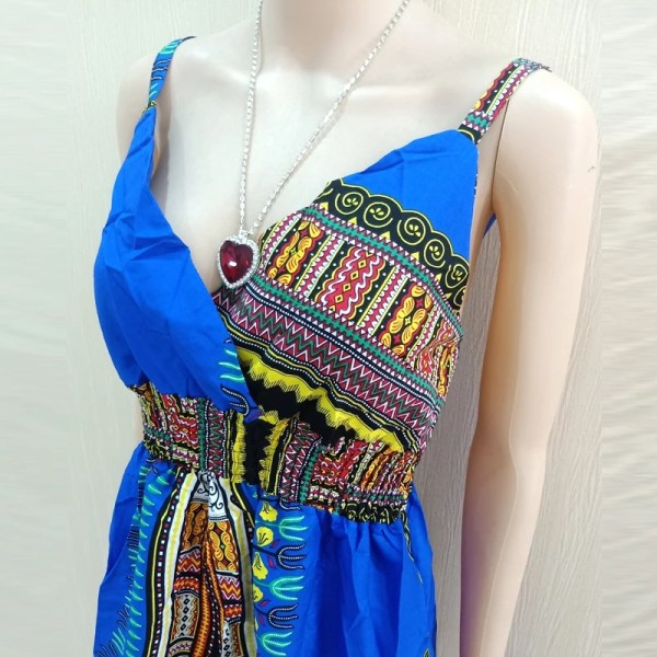 African Dashiki Spaghetti Strap Dress Blue