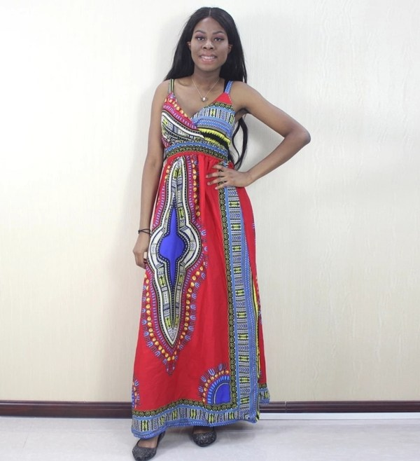 African Dashiki Spaghetti Strap Dress Red