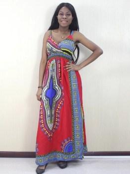 African Dashiki Spaghetti Strap Dress Red
