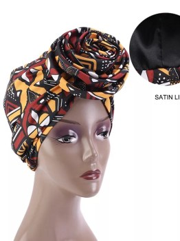 African Print Headwrap Brown