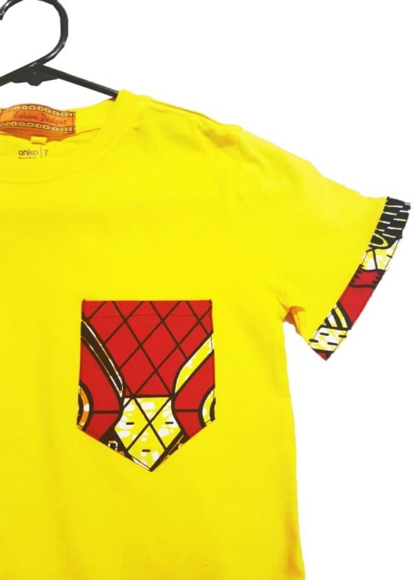 African Boys Tshirt Ankara Yellow