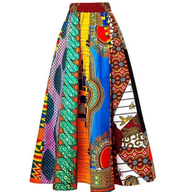 Mixed Print Ankara Maxi Skirt